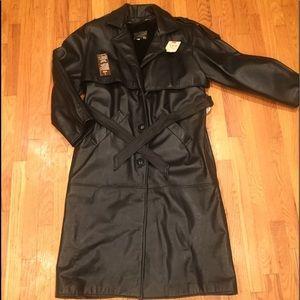 Edmire New York Women's XL Leather Trench Coat